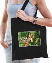 Dieren tas katoen giraffen foto zwart volwassenen beeldje kopen