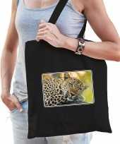 Dieren tas katoen jaguars foto zwart volwassenen beeldje kopen