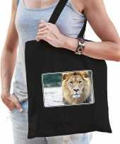 Dieren tas katoen leeuwen foto zwart volwassenen beeldje kopen