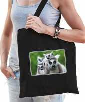 Dieren tas katoen maki apen foto zwart volwassenen beeldje kopen
