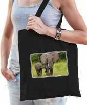 Dieren tas katoen olifanten foto zwart volwassenen beeldje kopen