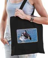 Dieren tas katoen orka walvissen foto zwart volwassenen beeldje kopen