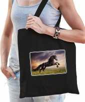 Dieren tas katoen paarden foto zwart volwassenen beeldje kopen