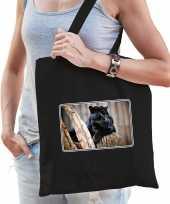 Dieren tas katoen panters foto zwart volwassenen beeldje kopen