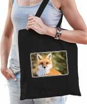 Dieren tas katoen vossen foto zwart volwassenen beeldje kopen