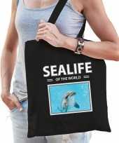 Dolfijn tasje zwart volwassenen kinderen sealife of the world kado boodschappen tas beeldje kopen