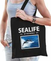 Dolfijnen tasje zwart volwassenen kinderen sealife of the world kado boodschappen tas beeldje kopen