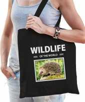 Egel tasje zwart volwassenen kinderen wildlife of the world kado boodschappen tas beeldje kopen