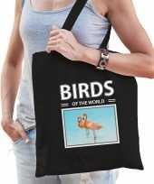 Flamingo tasje zwart volwassenen kinderen birds of the world kado boodschappen tas beeldje kopen