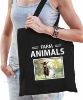 Geit tasje zwart volwassenen kinderen farm animals kado boodschappen tas beeldje kopen