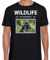 Gorilla aap t-shirt dieren foto wildlife of the world zwart heren beeldje kopen