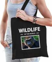 Gorilla aap tasje zwart volwassenen kinderen wildlife of the world kado boodschappen tas beeldje kopen 10265450