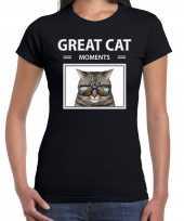 Grijze katten t-shirt dieren foto great cat moments zwart dames beeldje kopen