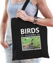 Groene specht vogel tasje zwart volwassenen kinderen birds of the world kado boodschappen tas beeldje kopen