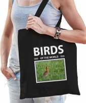 Grutto vogel tasje zwart volwassenen kinderen birds of the world kado boodschappen tas beeldje kopen