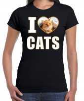 I love cats t-shirt dieren foto een rode kat zwart dames beeldje kopen