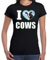 I love cows t-shirt dieren foto een koe zwart dames beeldje kopen