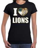 I love lions t-shirt dieren foto een leeuw zwart dames beeldje kopen