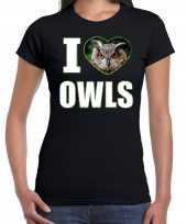 I love owls t-shirt dieren foto een uil zwart dames beeldje kopen