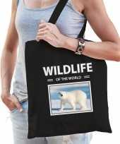 Ijsbeer tasje zwart volwassenen kinderen wildlife of the world kado boodschappen tas beeldje kopen