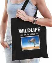Kangoeroe tasje zwart volwassenen kinderen wildlife of the world kado boodschappen tas beeldje kopen
