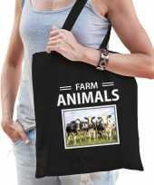 Koe tasje zwart volwassenen kinderen farm animals kado boodschappen tas beeldje kopen 10265517