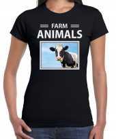 Koeien t-shirt dieren foto farm animals zwart dames beeldje kopen