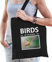 Kolibrie vogel tasje zwart volwassenen kinderen birds of the world kado boodschappen tas beeldje kopen 10265537