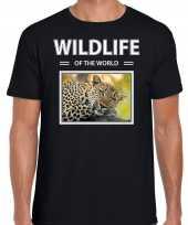 Luipaard t-shirt dieren foto wildlife of the world zwart heren beeldje kopen