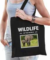 Olifant tasje zwart volwassenen kinderen wildlife of the world kado boodschappen tas beeldje kopen