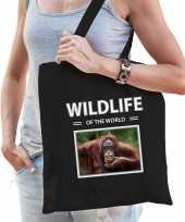 Orang oetan aap tasje zwart volwassenen kinderen wildlife of the world kado boodschappen tas beeldje kopen