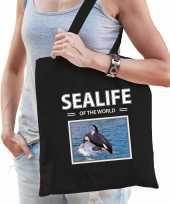 Orkas tasje zwart volwassenen kinderen sealife of the world kado boodschappen tas beeldje kopen