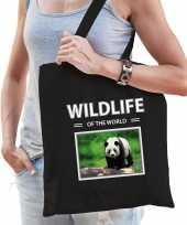 Panda tasje zwart volwassenen kinderen wildlife of the world kado boodschappen tas beeldje kopen