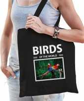 Papegaai vogel tasje zwart volwassenen kinderen birds of the world kado boodschappen tas beeldje kopen