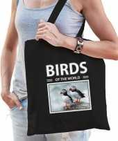 Papegaaiduiker vogel tasje zwart volwassenen kinderen birds of the world kado boodschappen tas beeldje kopen