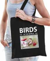 Pestvogel tasje zwart volwassenen kinderen birds of the world kado boodschappen tas beeldje kopen