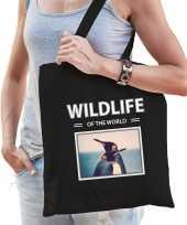 Pinguin tasje zwart volwassenen kinderen wildlife of the world kado boodschappen tas beeldje kopen