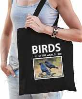 Raaf vogel tasje zwart volwassenen kinderen birds of the world kado boodschappen tas beeldje kopen