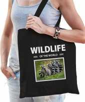 Ringstaart maki tasje zwart volwassenen kinderen wildlife of the world kado boodschappen tas beeldje kopen