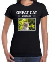 Rode katten t-shirt dieren foto great cat moments zwart dames beeldje kopen