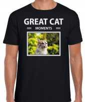 Rode katten t-shirt dieren foto great cat moments zwart heren beeldje kopen
