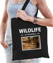 Stokstaartje tasje zwart volwassenen kinderen wildlife of the world kado boodschappen tas beeldje kopen