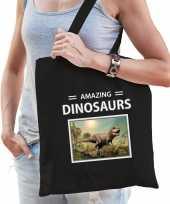 T rex dinosaurus tasje zwart volwassenen kinderen amazing dinosaurs kado boodschappen tas beeldje kopen 10265526