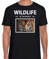Tijger t-shirt dieren foto wildlife of the world zwart heren beeldje kopen