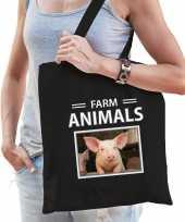 Varken tasje zwart volwassenen kinderen farm animals kado boodschappen tas beeldje kopen