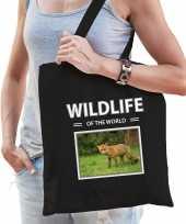 Vos tasje zwart volwassenen kinderen wildlife of the world kado boodschappen tas beeldje kopen