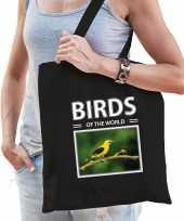 Wielewaal vogel tasje zwart volwassenen kinderen birds of the world kado boodschappen tas beeldje kopen