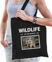 Wolf tasje zwart volwassenen kinderen wildlife of the world kado boodschappen tas beeldje kopen 10265448