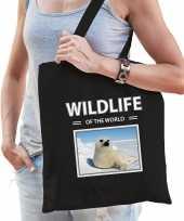 Zeehond tasje zwart volwassenen kinderen wildlife of the world kado boodschappen tas beeldje kopen