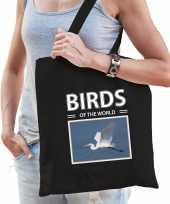 Zilverreiger tasje zwart volwassenen kinderen birds of the world kado boodschappen tas beeldje kopen